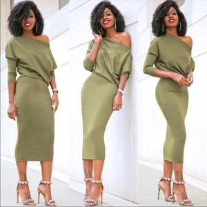 Fitted Olive Dress